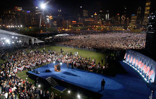 Miles de personas con Obama en Chicago