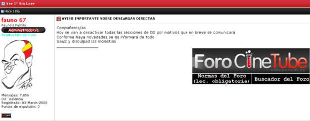 Mensaje de los administradores de CineTube en el que anuncian que desactivarán las descargas