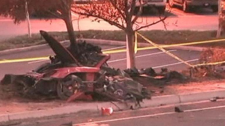 El coche en el que viajaba el fallecido Paul Walker, protagonista de Fast & Furious, destrozado