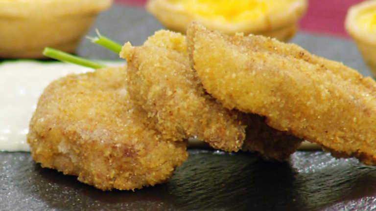 Receta de medallones de chuletas empanadas a la crema de for La cocina de sergio