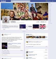 La página de Coldplay con el nuevo diseño