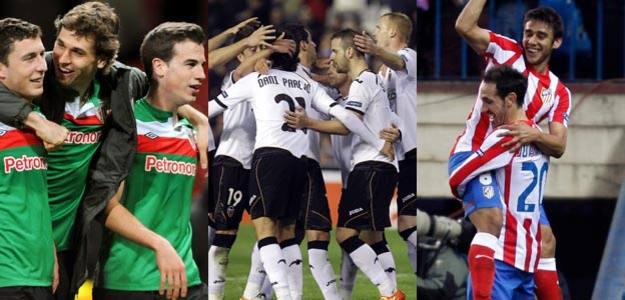 Athletic de Bilbao, Atlético de Madrid y Valencia lograron sendos triunfos en los octavos de la Europa League