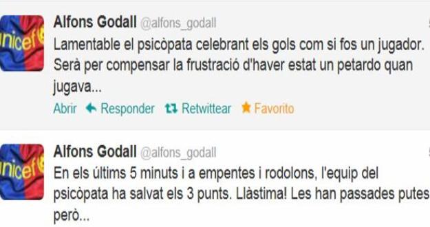 Comentarios en twitter de Alfons Godall, exvicepresidente del Barça.