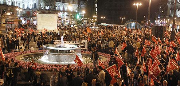 Concentración de piquetes informativos en la Puerta del Sol