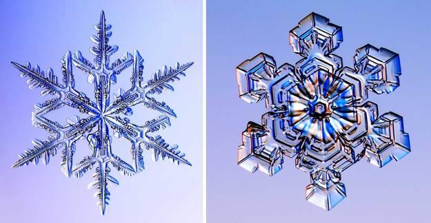 Fotografías de dos copos de nieve reales