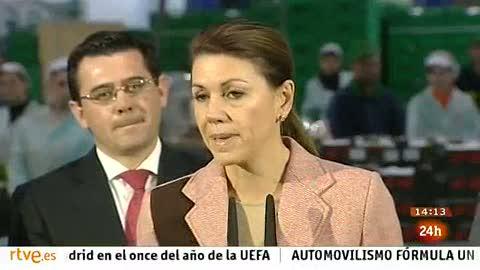 """Ver vídeo  'Cospedal dice que está """"indignada"""" con las cuentas suizas de Bárcenas pero lo desliga del PP'"""