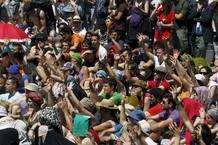 Jóvenes acampados en la Puerta del Sol de Madrid en mayo del año pasado