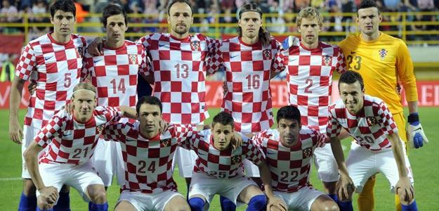 La selección de Croacia posa antes de un amistoso preparatorio de la Eurocopa