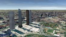 El espacio de las Cuatro Torres Financieras situadas junto al paseo de la Castellana