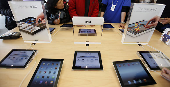 iPads en la tienda Apple en Hong Kong (China).