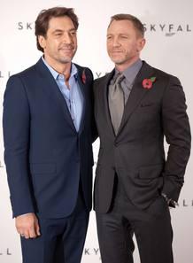 Daniel Craig y Javier Bardem en la presentación de la última película de James Bond.