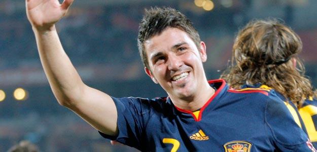 David Villa celebra el gol que consiguió durante el partido de los cuartos de final y que le convierte en pichichi