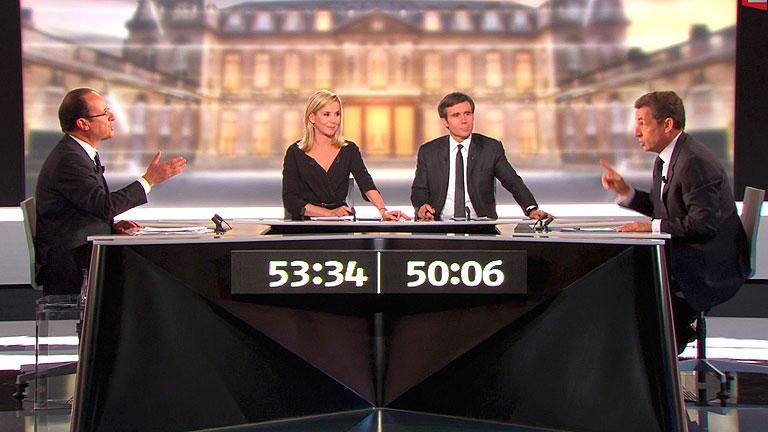La economia y el papel de Francia en Europa centran el debate entre Sarkozy y Hollande