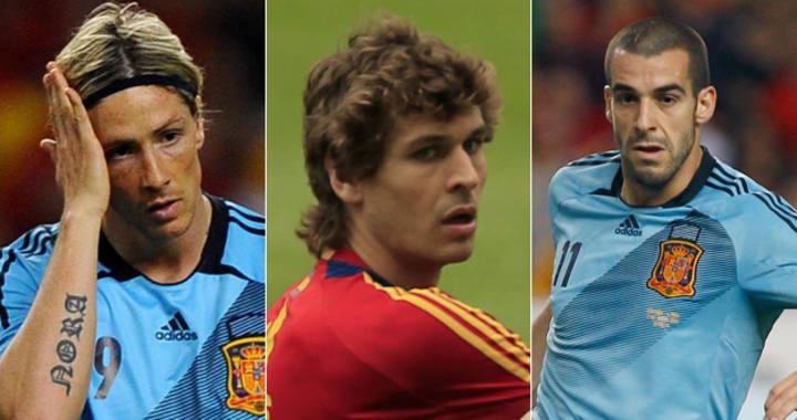 Los delanteros de la selección española, Fernando Torres, Fernando Llorente y Álvaro Negredo.