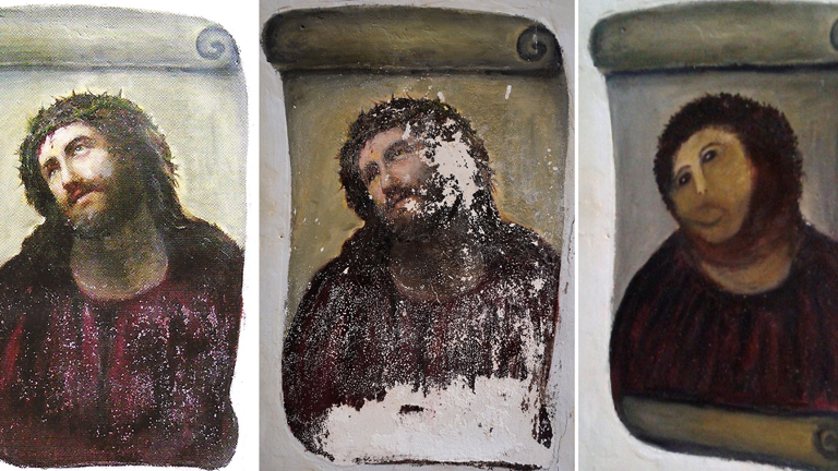 La desafortunada restauraci&oacute;n del &quot;Ecce homo&quot; de Zaragoza