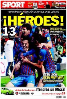El diario catalán Sport incide en la heroicidad de la victoria en el Santiag