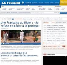 """El diario francés Le Figaro recoge en su portada """"el alto al fuego permanente"""" de ETA, a la que denomina """"organización vasca""""."""