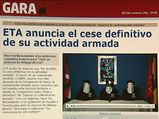 Ver vídeo  'El diario Gara publica el comunicado de la banda terrorista ETA'