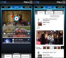 Diferentes vistas de la emisión en directo en móvil.