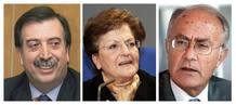 Fotos de archivo del vicepresidente del Tribunal Constitucional, Eugeni Gay, y de los magistrados Elisa Pérez y Javier Delgado (izda-dcha).