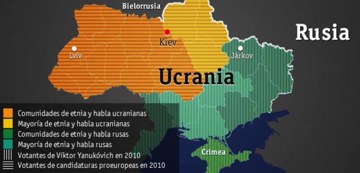 Mapa de la división regional de Ucrania