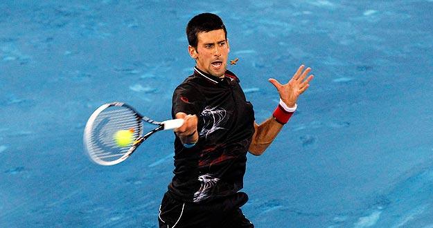 Djokovic, durante su partido contra Wawrinka en el Madrid Open 2012.