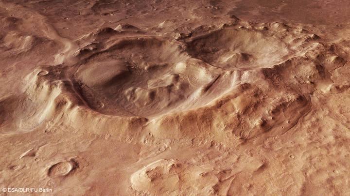 Dos enormes cráteres en la cuenca de Hellas Planitia.
