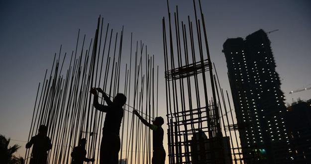 Edificio en construcción en la ciudad india de Bombay