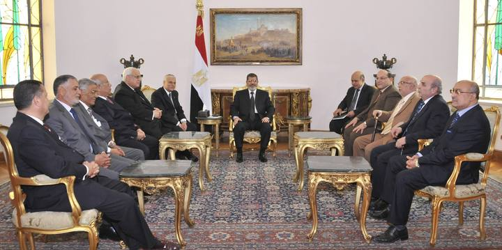 Egypt's President Mohamed Mursi meets with the Supreme Judicial Council and the prosecutor general to discuss a draft law reforming the judiciary due to go through the Islamist-dominated upper house at El-Thadiya presidential palace in Cairo