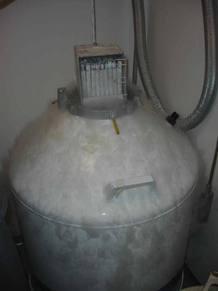 Los embriones se conservan congelados en tanques con nitrógeno líquido.