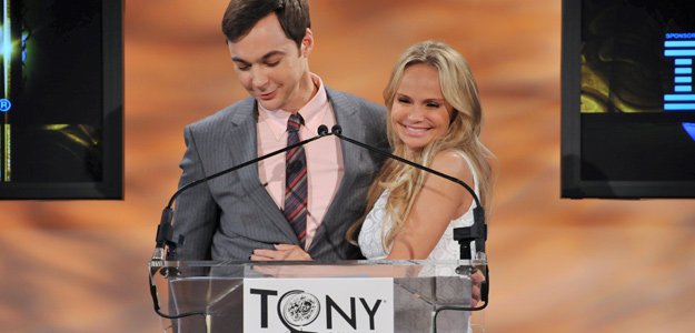 Emmy and Golden Globe winning actor Parsons and Tony and Emmy award winning actress Chenoweth are seen at 2012 Tony Awards Nominations announcements in New York