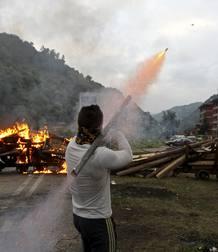 Enfrentamientos entre mineros y fuerzas de seguridad en Aller, Asturias