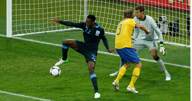 England's Danny Welbeck scores their third goal against Sweden during their Group D Euro 2012 soccer match at the Olympic stadium in Kiev