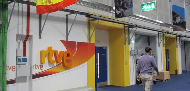 Entrada a las instalaciones de RTVE en los Juegos
