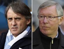 Los entrenadores del Manchester United y del City