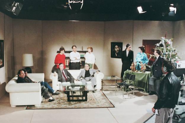 El equipo en el plató de Prado del Rey, en los inicios del programa, en 1982.