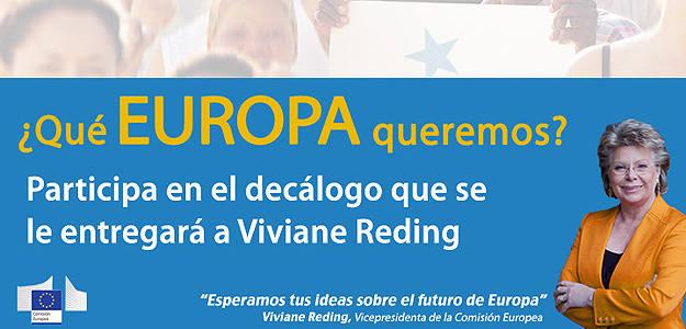 Eslógan de la consulta popular 'Qué Europa Queremos' de la Representación de la Comisión Europea en Madrid.