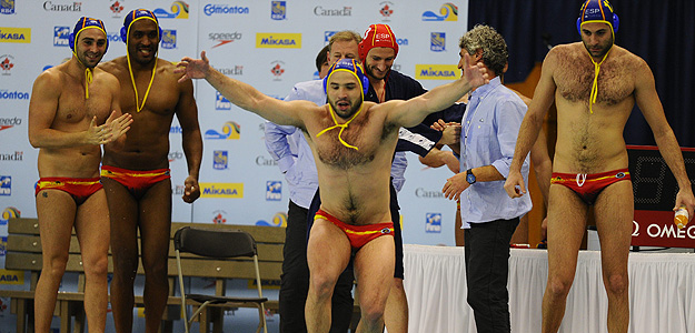 Los jugadores de España celebran el triunfo frente a Macedonia.