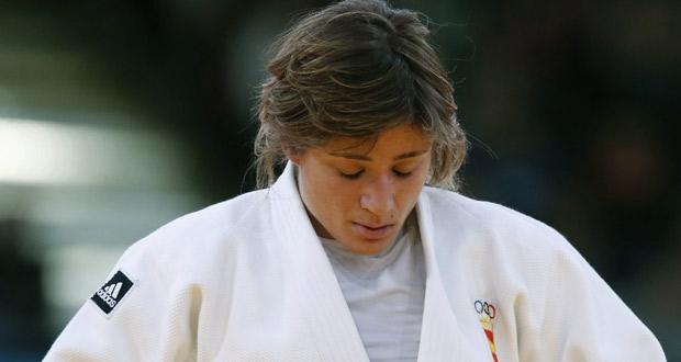 La judoca española Concepción Bellorín muestra su decepción tras quedar eliminada.