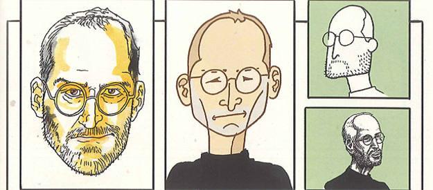 Estudios del rostro de Steve Jobs, de la agencia Jess3
