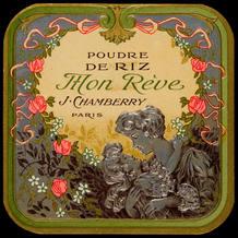 Etiqueta con apariencia 'chic' de polvos de arroz franceses'Mon Reve'