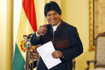 Bolivia's President Evo Morales gestures before a news conference at Government Palace in La Paz
