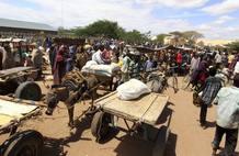 Éxodo de somalíes hacia Kenia.