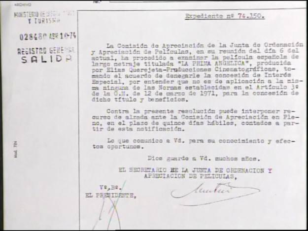Expediente de censura a la película 'La prima Angélica', de Querejeta Producciones.
