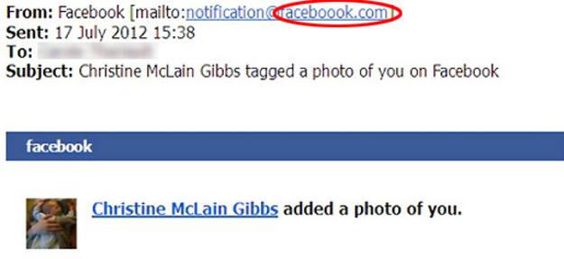 El e-mail que distribuye el 'malware' es muy similar a las verdaderas notificaciones de la red social