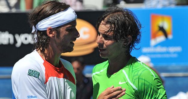 Feliciano López y Rafa Nadal se saludan