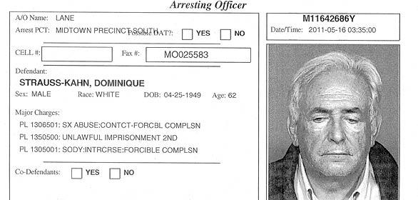 Ficha de detenido del director del FMI Dominique Strauss-Kahn