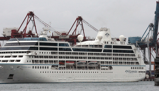 File photo of the Azamara Quest cruise ship arriving at Keelung port in northern Taiwan