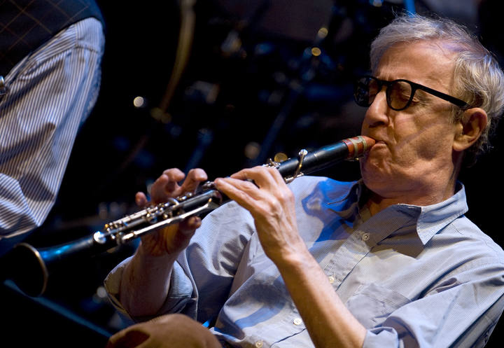 U.S. film director Woody Allen plays the clarinet at Calderon Theater in Valladolid