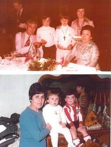 Los dos amigos, en la infancia, con sus padres adoptivos.
